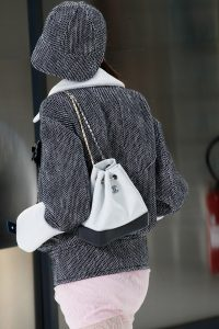 Chanel White/Black Small Drawstring Bag - Spring 2017