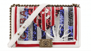 Chanel White/Red/Purple Sequined Boy Bag