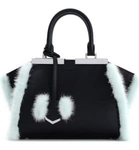 Fendi Black Leather with Pale Blue Fur Trim 3Jours Mini Bag