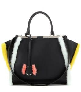 Fendi Black Leather with Yellow/White Fur Trim 3Jours Small Bag