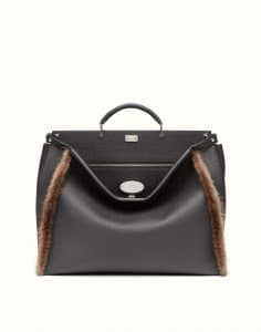 Fendi Black Roman Leather with Brown Fur Trim Peekaboo Bag