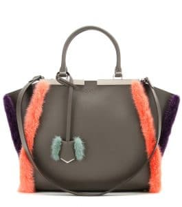Fendi Grey Leather with Coral/Violet Fur Trim 3Jours Small Bag