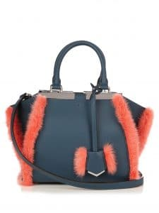 Fendi Prussian Blue Leather with Coral Fur Trim 3Jours Mini Bag