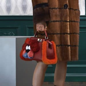 Fendi Red Leather with Fur Trim Peekaboo Mini Bag 2