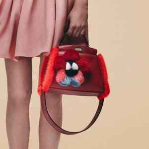 Fendi Red Leather with Fur Trim Peekaboo Mini Bag