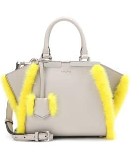 Fendi Taupe Leather with Yellow Fur Trim 3Jours Small Bag