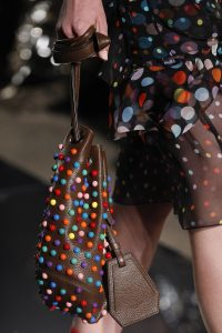 Givenchy Brown Multicolor Embellished Drawstring Bag - Spring 2017