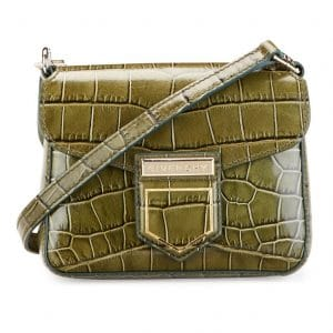 Givenchy Khaki Crocodile Embossed Nobile Mini Shoulder Bag