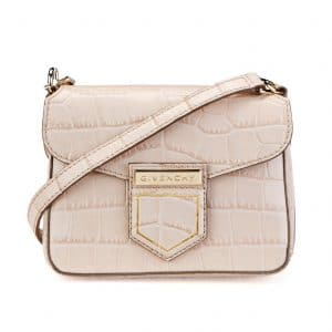 Givenchy Nude Pink Crocodile Embossed Nobile Mini Shoulder Bag