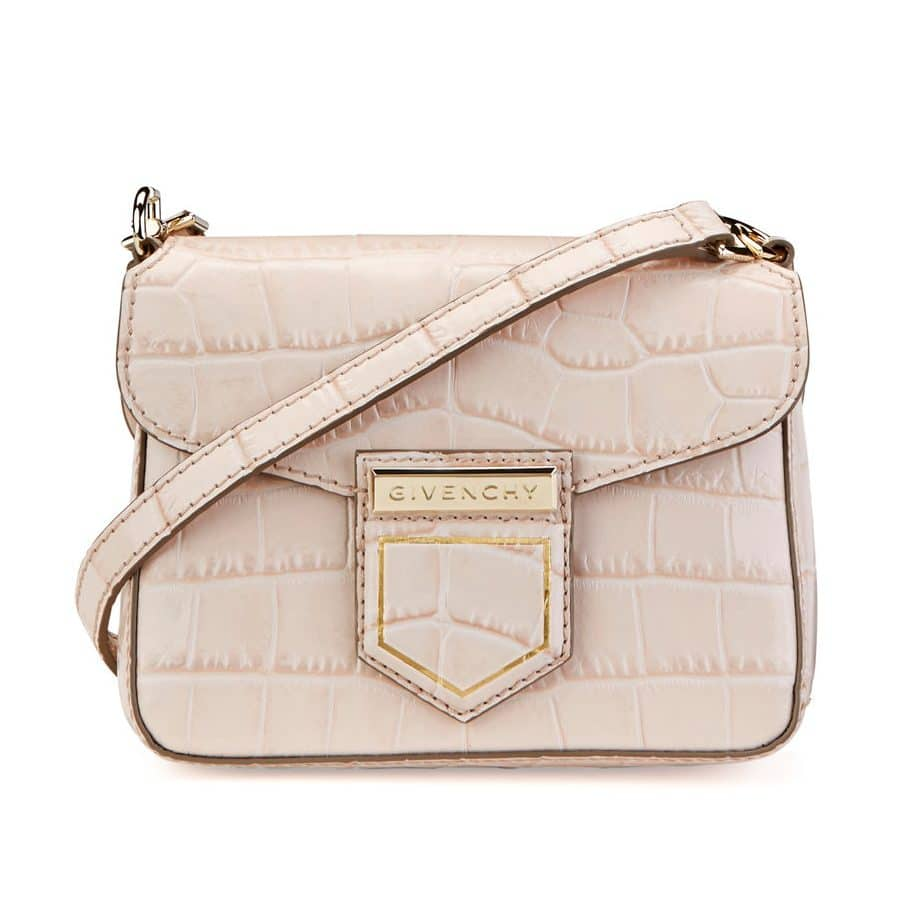 819ef04481 Givenchy Nude Pink Crocodile Embossed Nobile Mini Shoulder Bag