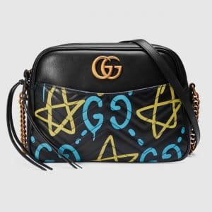 Gucci Black GucciGhost Print Medium Shoulder Bag