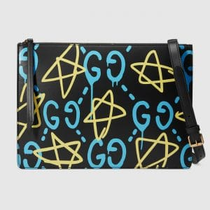 Gucci Black GucciGhost Print Messenger Bag