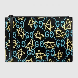 Gucci Black GucciGhost Print Pouch Bag