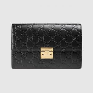 Gucci Black Signature Padlock Pouch Bag