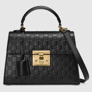 Gucci Black Signature Padlock Small Flap Top Handle Bag