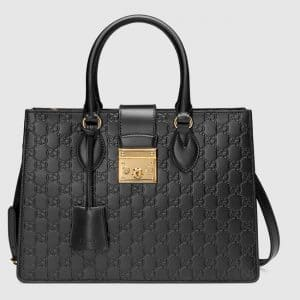 Gucci Black Signature Padlock Small Top Handle Bag