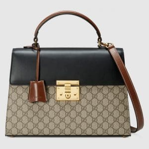 Gucci Black and Brown Leather with GG Supreme Padlock Medium Top Handle Bag