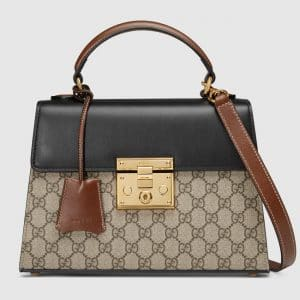 Gucci Black/Brown GG Supreme Padlock Small Top Handle Bag