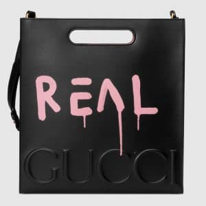 Gucci Black/Pink GucciGhost Leather Tote Medium Bag