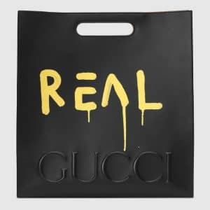 Gucci Black/Yellow GucciGhost Leather Tote Large Bag