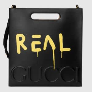 Gucci Black/Yellow GucciGhost Leather Tote Medium Bag