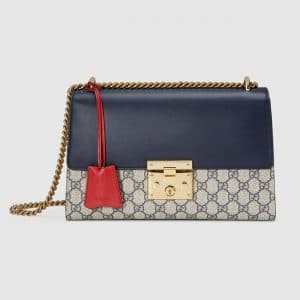 Gucci Blue Leather and GG Supreme Padlock Medium Shoulder Bag