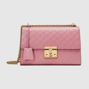Gucci Candy Pink Signature Padlock Medium Shoulder Bag