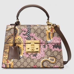 Gucci GG Supreme Bengal Print Padlock Top Handle Bag