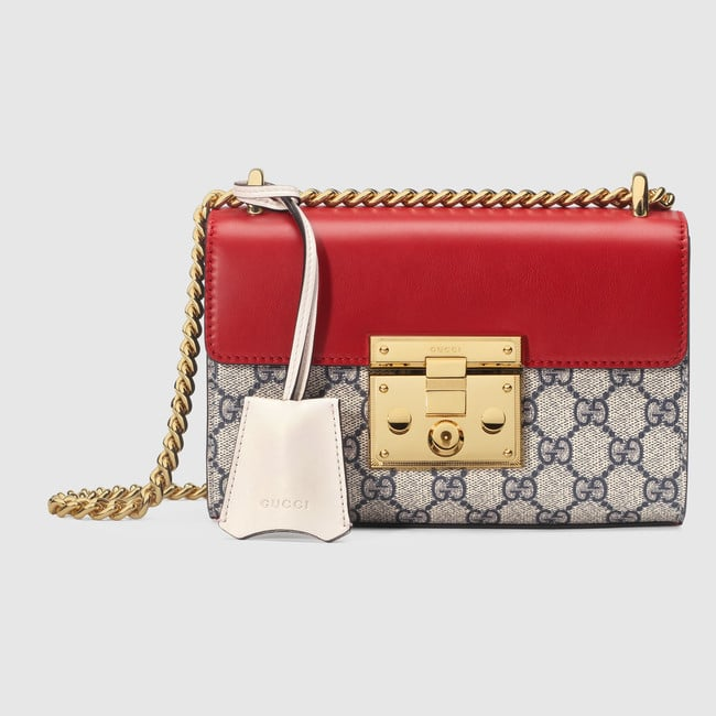 8069282fef6a4c Gucci Hibiscus Red Leather GG Supreme Padlock Small Shoulder Bag
