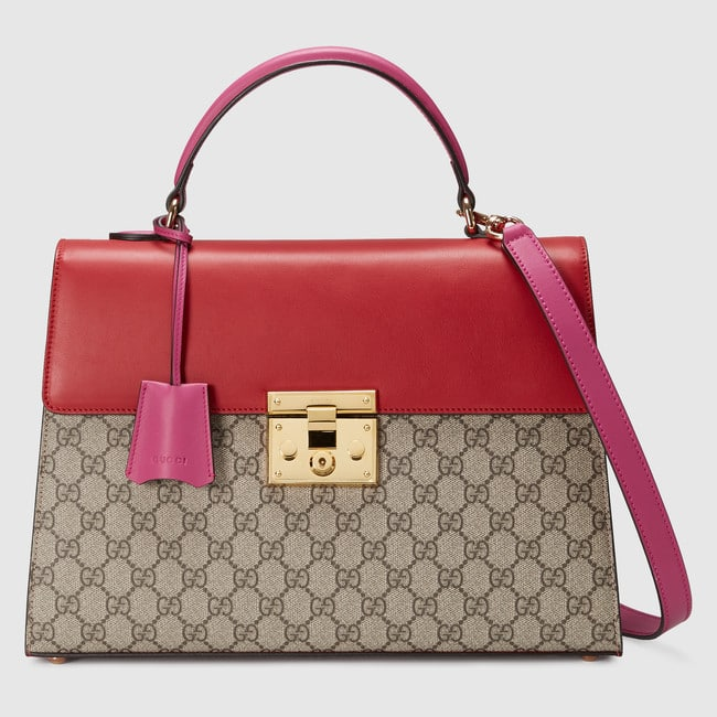 3f22ecc40c25bc Gucci Hibiscus Red and Pink Leather with GG Supreme Padlock Medium Top  Handle Bag