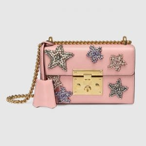 Gucci Light Pink Leather Star Embroidered Padlock Small Shoulder Bag