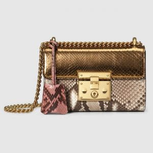 Gucci Metallic Python Padlock Small Shoulder Bag