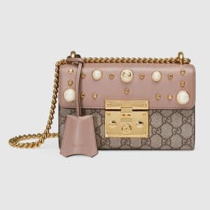 Gucci Nude Leather Studded GG Supreme Padlock Small Shoulder Bag