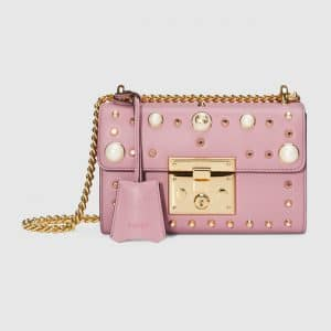 Gucci Pink Leather Studded Padlock Small Shoulder Bag