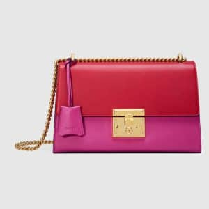 Gucci Pink and Hibiscus Red Leather Padlock Medium Bag