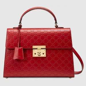 Gucci Red Signature Padlock Medium Flap Top Handle Bag