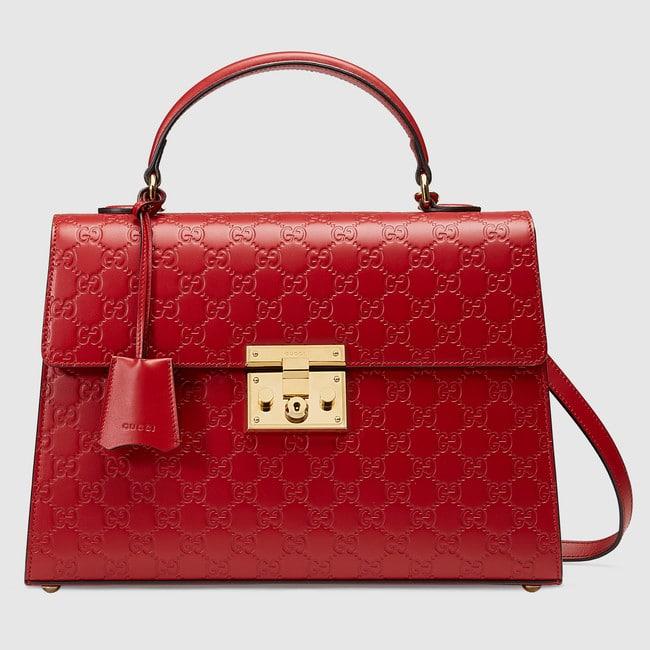 Gucci Red Signature Padlock Medium Flap Top Handle Bag