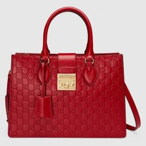 Gucci Red Signature Padlock Small Top Handle Bag