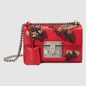 Gucci Red Strawberry and Bee Embroidered Padlock Small Shoulder Bag