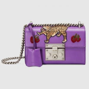 Gucci Violet Tiger and Strawberry Embroidered Padlock Small Shoulder Bag