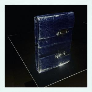 Hermes Blue Crocodile Verrou Clutch Bag