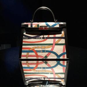 Hermes Multicolor Printed Washed Canvas Kelly Bag