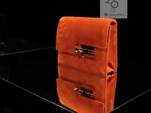 Hermes Orange Suede Verrou Clutch Bag