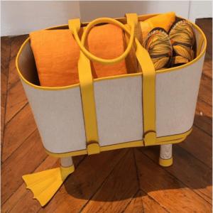 Hermes Yellow Canvas Beach Bag