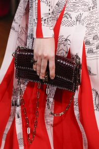 Valentino Burgundy Crocodile Studded Flap Bag - Spring 2017