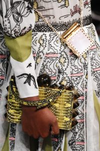 Valentino Yellow/Brown Python Studded Clutch Bag - Spring 2017