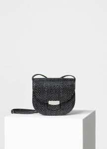 Celine Black Polka Dots Watersnake Small Trotteur Shoulder Bag