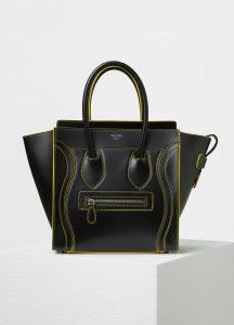 Celine Black Satin Calfskin Micro Debossed Luggage Bag