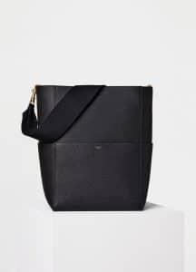 Celine Black Soft Grained Calfskin Sangle Shoulder Bag
