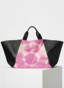 Celine Black/Magenta Smooth Calfskin/Tie & Dye Fabric Canvas Tote Bag